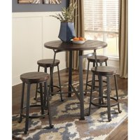 Ashley Challiman 5 Piece Counter Round Dining Set in Rustic Brown