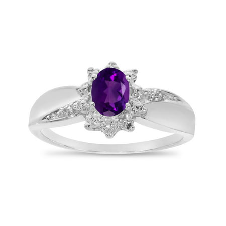 10k White Gold Oval Amethyst And Diamond Ring Judith Ripka Amethyst Ring