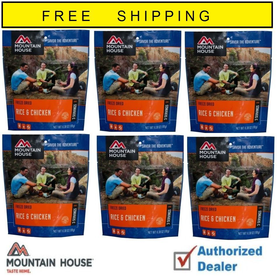Mountain House Freeze Dried Rice and Chicken 6 Food Pouches by Mountain House