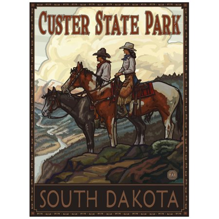 Custer State Park South Dakota Two Horse Riders Travel Art Print Poster by Paul A. Lanquist (18
