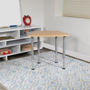 "Flash Furniture Hex Natural Collaborative Student Desk (Adjustable from 22.3"" to 34"") - Home and Classroom"