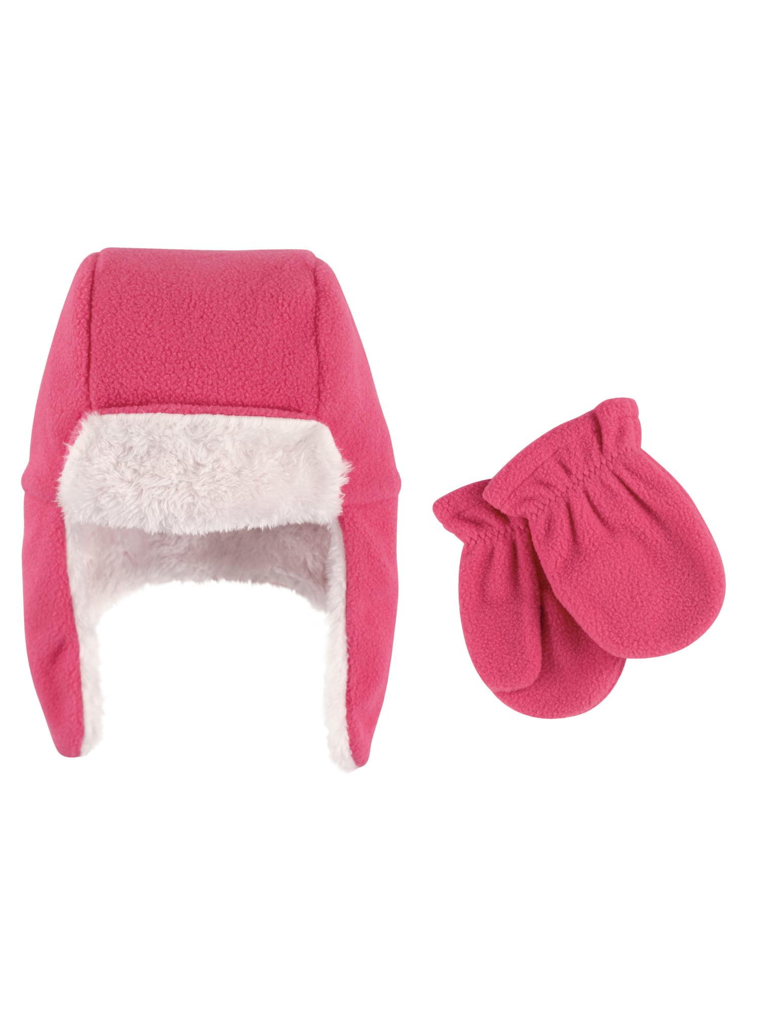 Girl Traper Fleece Hat & Mittens 2pc Set