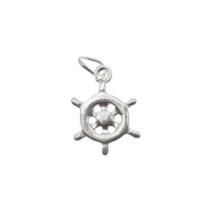 Sterling Silver Charm Ship Steering Wheel 'Helm' 12mm (1) - Ship Helm