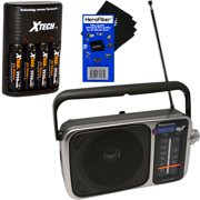 panasonic portable am/fm radio with led tuning indicator + xtech 4 aa rechargeable batteries with quick charger + herofiber ultra gentle cleaning cloth