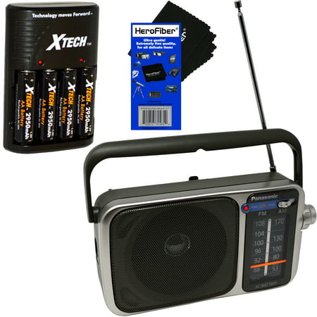 Panasonic Portable AM/FM Radio with Led Tuning Indicator + Xtech 4 AA Rechargeable Batteries with Quick Charger + radios/ best reception battery operated/