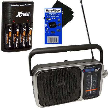 Panasonic Portable AM/FM Radio with Led Tuning Indicator + Xtech 4 AA Rechargeable Batteries with Quick Charger + radios/ best reception battery operated/ (Finding The Best Waterproof Shower Radio)