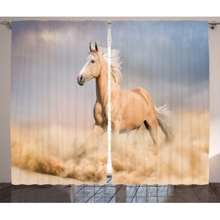 Animal Decor Curtains 2 Panels Set, Palomino Horse In Sand Desert With Long Blond Male Hair And Tail Power Wild Animal Theme, Living Room Bedroom Accessories, By Ambesonne - Desert Theme