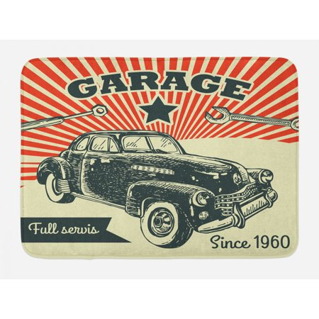 Cars Bath Mat, Retro Car and Garage Advertising Poster Style Picture with Grunge Effects 1960s, Non-Slip Plush Mat Bathroom Kitchen Laundry Room Decor, 29.5 X 17.5 Inches, Emerald Orange, Ambesonne 1960s Home Decor