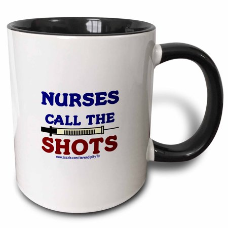 3dRose Nurses Call The Shots - Two Tone Black Mug, 11-ounce - Halloween Mug Shots