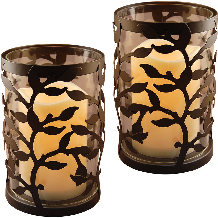 Lumabase Metal Lanterns with LED Candles- Round Black Vine, 2 Count