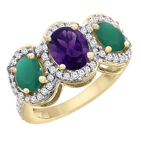 14K Yellow Gold Natural Amethyst & Cabochon Emerald 3-Stone Ring Oval Diamond Accent, size 7