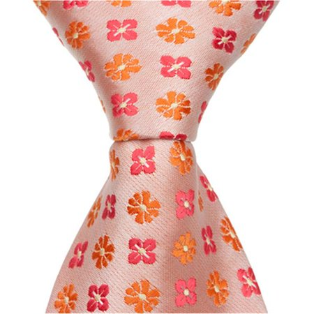 Matching Tie Guy 2590 O3 - 9.5 in. Zipper Necktie - Orange With Flowers, 6 to 18 Month Flowers 18 Months