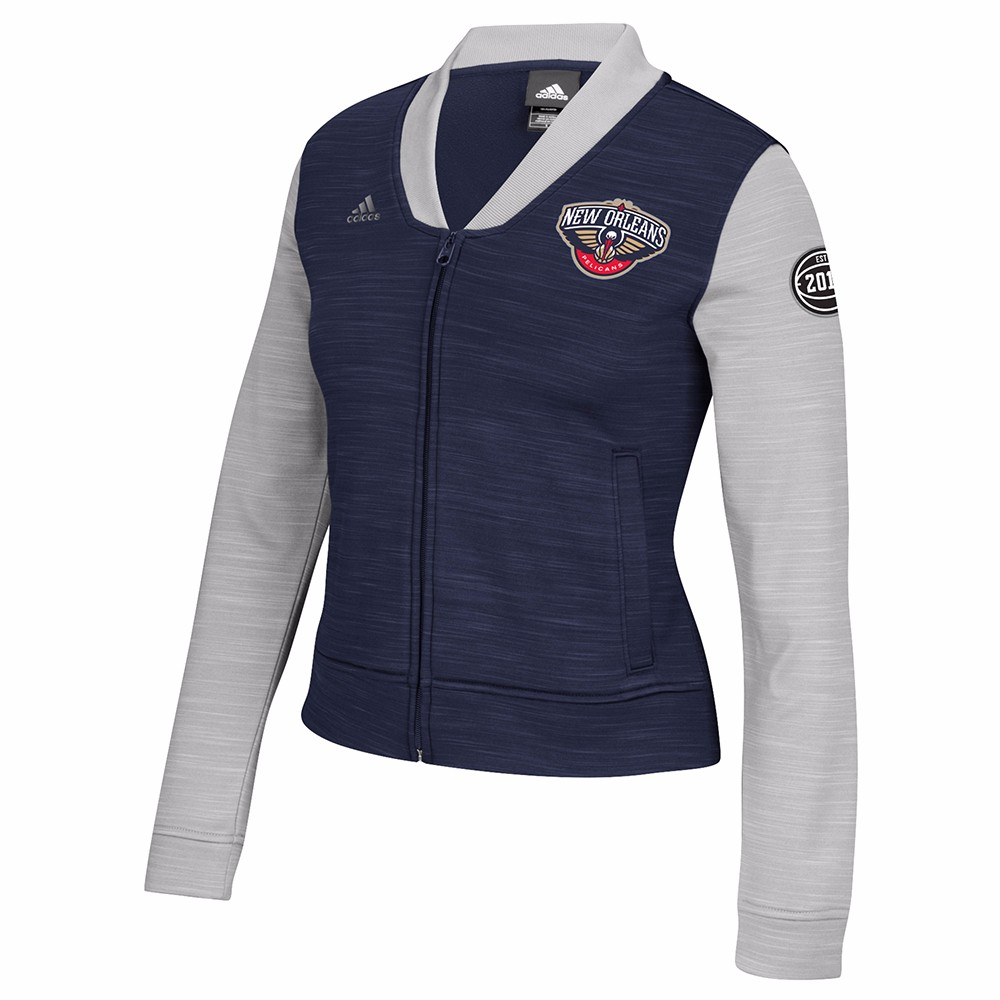 New Orleans Pelicans NBA Adidas Navy Blue On-Court Full Zip Track Jacket w  Patches Jacket For Women by Adidas