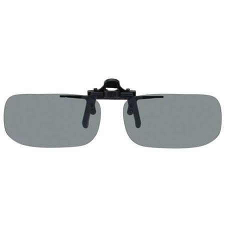 Polarized Clip-on Flip-up Plastic Sunglasses - True Rectangle - 51mm Wide X 29mm High (113mm Wide) - Polarized (Fair Trade Sunglasses)