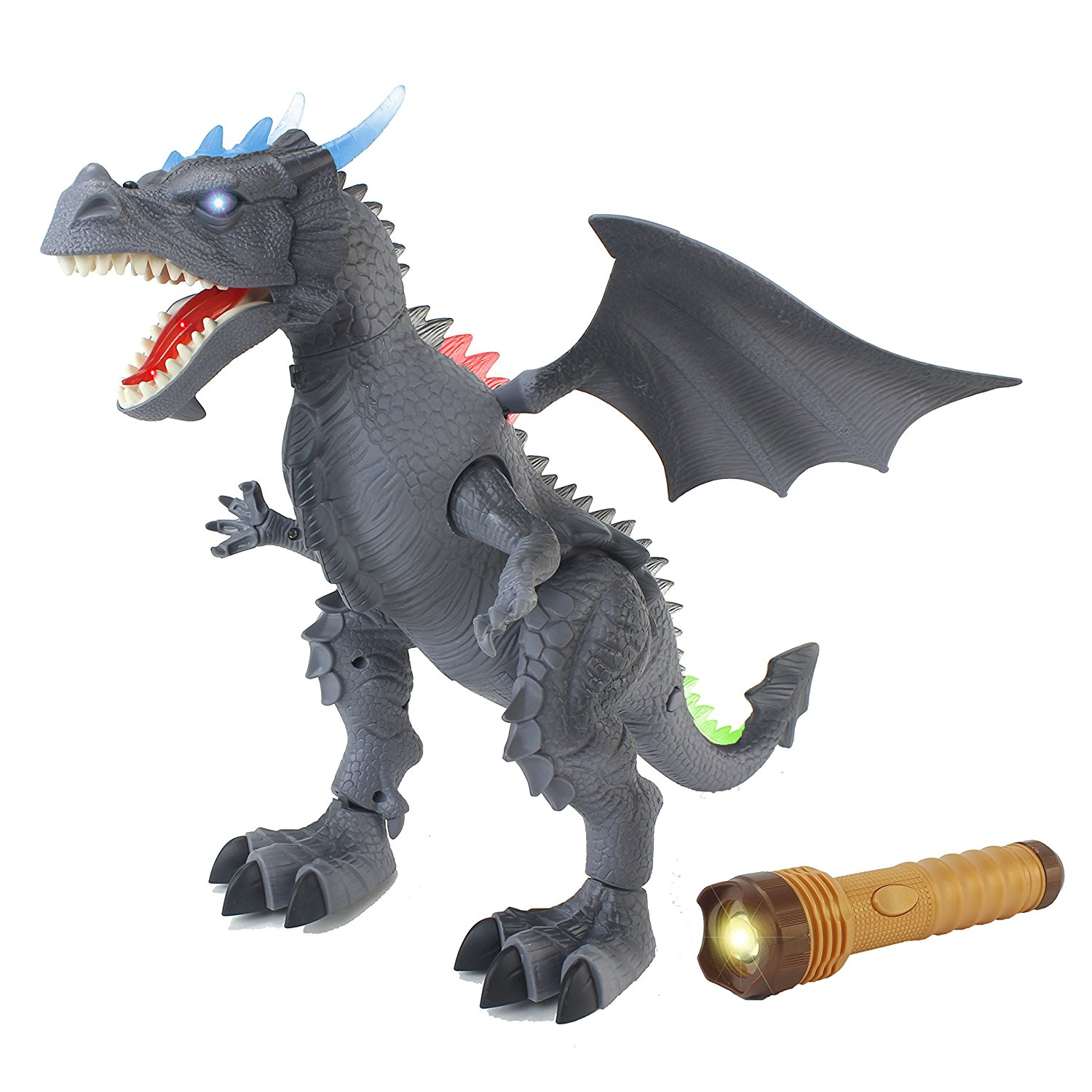 The New World Of Dinosaurs Battery Operated Remote Control Toy RC Gray Dragon w/ Lights, Sounds, Walking/Wing/Mouth Action, & Flashlight Remote Control