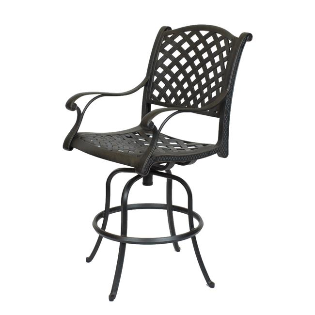 Comfort Care CC03C Cast Aluminum Weave Counter Outdoor Barstool - 47.6 x 24.2 x 27 in. - Set of 2