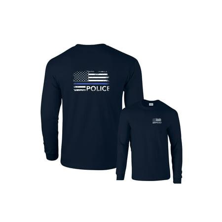 Usc T-shirt (Thin Blue Line Police USA Flag Long Sleeve T-Shirt)