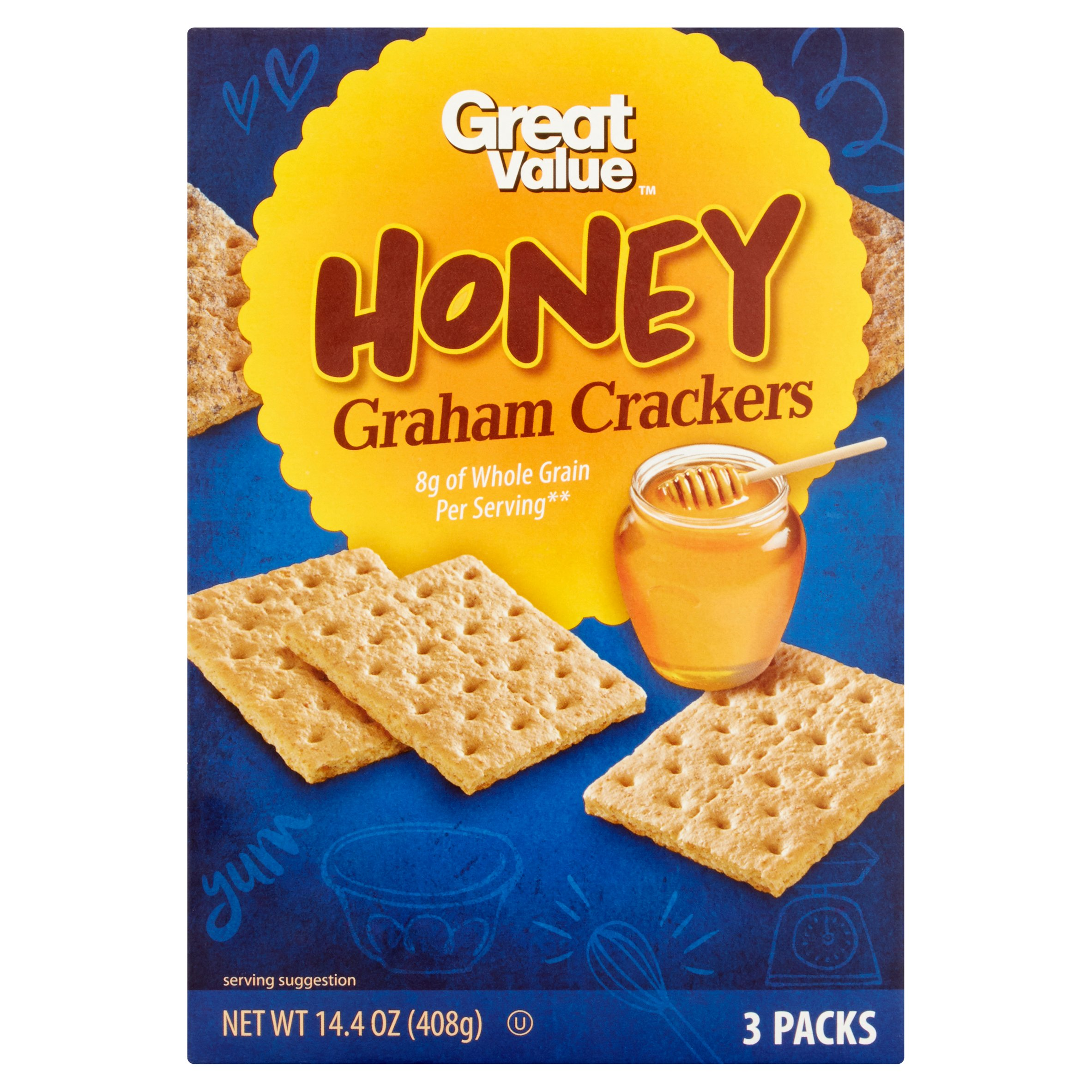 Great Value Honey Graham Crackers, 14.4 oz, 3 Pack by Wal-Mart Stores, Inc.