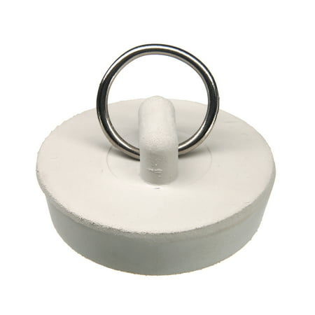 DANCO 1-1/2 inch Rubber Drain Stopper with Split-Type Ring for Bead Chain Connection, White - These Rubber Stoppers
