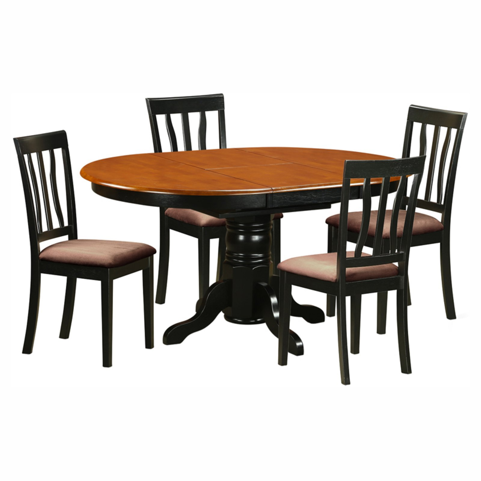 East West Furniture Avon 5 Piece Pedestal Oval Dining Table Set with Antique Microfiber Seat Chairs