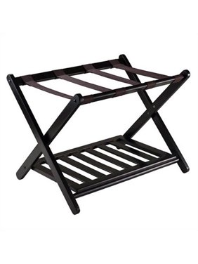 Winsome Wood Reese Wooden Luggage Rack with Shelf, Espresso
