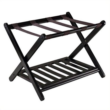 Winsome Reese Wooden Luggage Rack with Shelf, Espresso ()