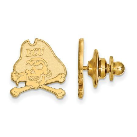 - Solid 14k Yellow Gold East Carolina University Lapel Pin (14mm x 15mm)
