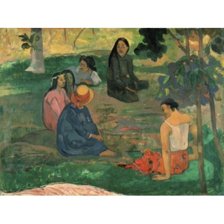 Paul Gauguin Museum - The Talk 1891 Paul Gauguin (1848-1903French) Oil on canvas Hermitage Museum St Petersburg Canvas Art - Paul Gauguin (18 x 24)