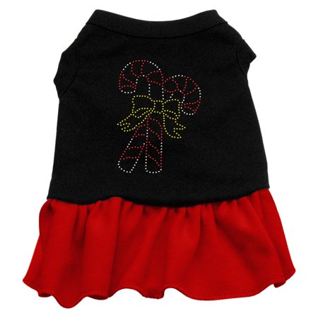 Xs Harness Dress - Candy Canes Rhinestone Dress Black with Red XS (8)