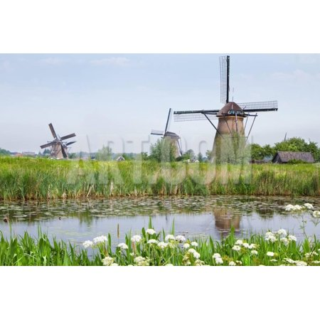 Dutch Country Landscape with Windmills in Spring Print Wall Art By -