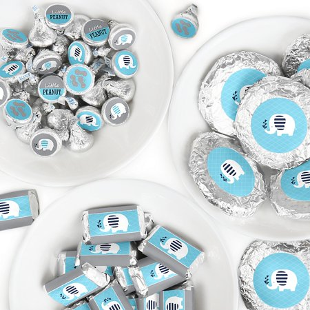 Boy Candy - Blue Elephant - Mini Candy Bar Wrappers, Round Candy Stickers and Circle Stickers - Boy Baby Shower or Birthday Party Candy Favor Sticker Kit - 304 Pieces