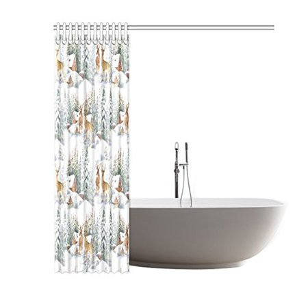 GCKG Watercolor Winter Snow Shower Curtain, Reindeers Polyester Fabric Shower Curtain Bathroom Sets with Hooks 60x72 Inches - image 2 of 3