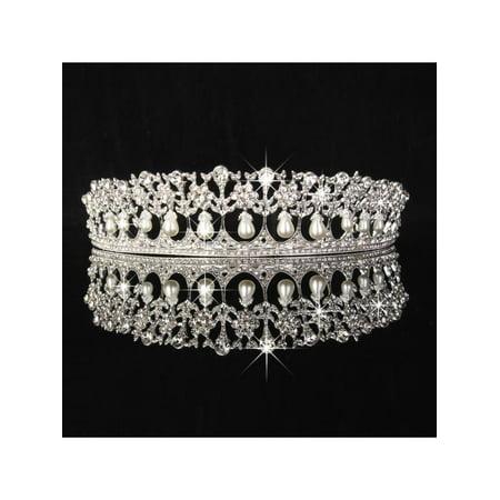 Vintage Diana Tiara Crown Wedding Bridal Crystal Headpiece Pearl Jewelry Silver](Silver Tiara)
