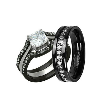 HIS & HERS 4PC BLACK STAINLESS STEEL & TITANIUM WEDDING ENGAGEMENT RING Band SET Size Women's 10 Men's 10