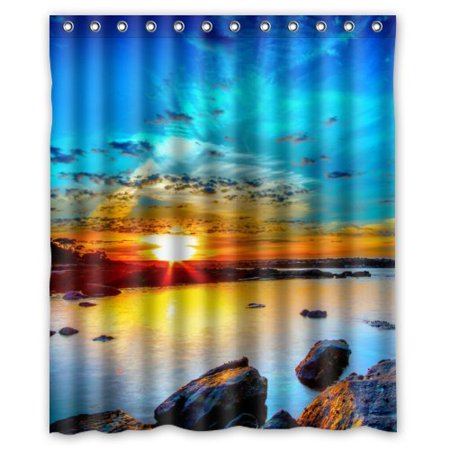 EREHome Seascape Shower Curtain Polyester Fabric Bathroom Decorative Curtain Size 60x72 Inches - image 1 of 1