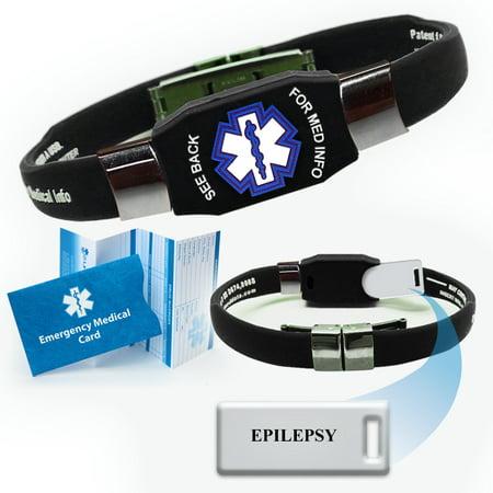 """""""Epilepsy"""" ELITE Medical Alert ID Bracelet. Choose Color!"""