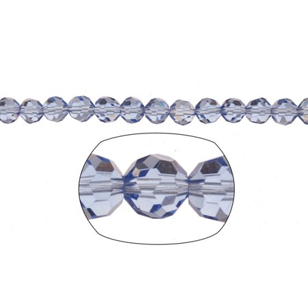 Blue Round Crystal Beads 6mm, 38-Facet Surface Cutted, 72 Beads / string