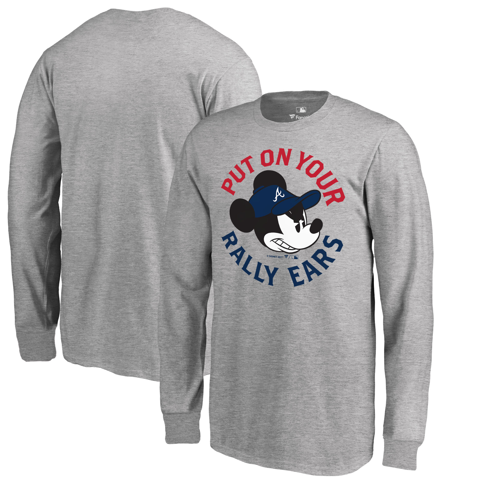Atlanta Braves Fanatics Branded Youth Disney Rally Ears Long Sleeve T-Shirt - Heathered Gray