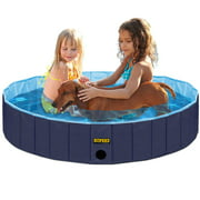 "Outdoor Swimming Pool Bathing Tub - Portable Foldable - Ideal for Pets - Medium 32"" x 8"" - Grey - Blue"