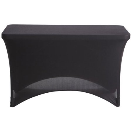 ICEBERG ENTERPRISES Black Stretch Fabric Table Cover, 4' - Table Cover