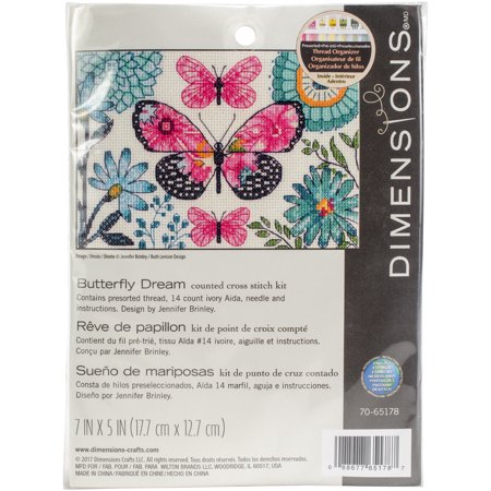 """Dimensions Counted Cross Stitch Kit 7""""X5""""-Butterfly Dream (14 Count) - image 1 de 1"""