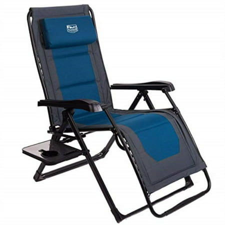 timber ridge zero gravity locking lounge chair oversize xl adjustable recliner with headrest for outdoor beach patio pool support 350lbs, blue-padded ()
