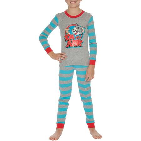 Tom and Jerry Boys' Long Sleeve 2-Piece Pajama Sleep Set