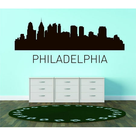 Custom City Wall Map - Custom Wall Decal Philadelphia United States Major City Geographical Map Landmark - Vinyl Wall - 15x45