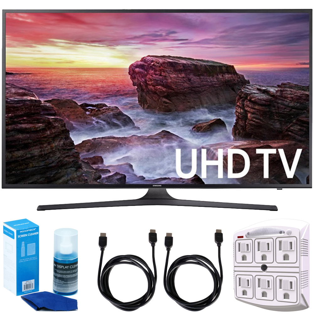 """Samsung UN65MU6290FXZA Flat 64.5"""" LED 4K UHD 6 Series Smart TV (2017 Model) + 2x 6ft High Speed HDMI Cable + Universal Screen Cleaner + 6-Outlet Surge Adapter with Night Light"""