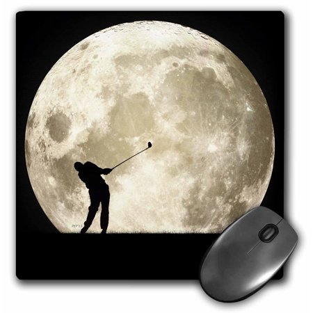 3dRose Golfing At Night - golfer silhouette swings club with full moon, Mouse Pad, 8 by 8 inches