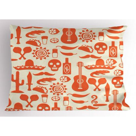 Mexican Pillow Sham Ethnic South American Culture Sombrero Mariachi Hats Skulls Guiatar Tacos Print, Decorative Standard King Size Printed Pillowcase, 36 X 20 Inches, Cream Orange, by Ambesonne