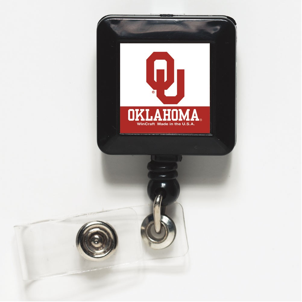 Oklahoma Sooners Official NCAA 1 inch x 1 inch  Retractable Badge Holder Key Chain Keychain by WinCraft