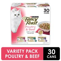 Fancy Feast Grilled Poultry & Beef Collection Wet Cat Food Variety Pack, 3 oz. Cans