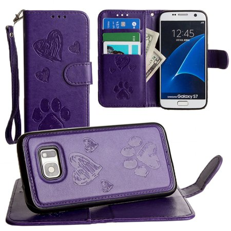 CellularOutfitter Samsung Galaxy S7 Wallet Case - Embossed Puppy Love Design w/ Matching Detachable Case and Wristlet - (Marching Case)